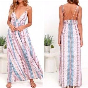 Lulu's Maxin' Relaxin' Multi Print Maxi Dress Sz S